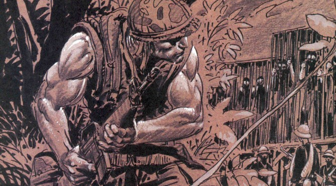 "Joe Kubert's Chapter 2 Title Page from ""Punisher Invades the 'Nam""."