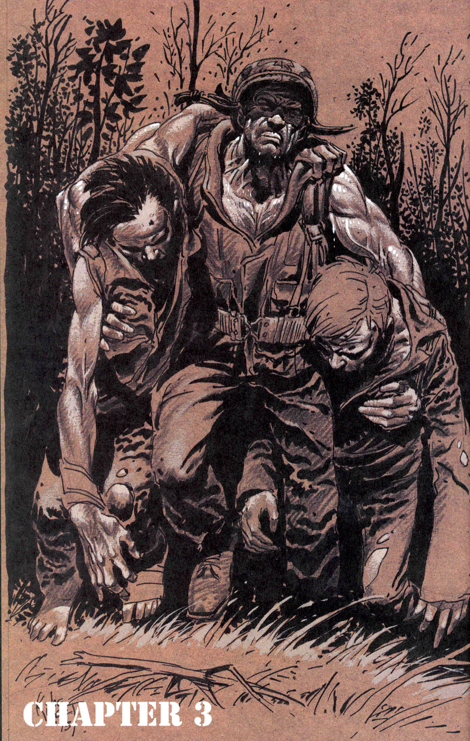 "Joe Kubert's Chapter 3 Title Page from ""Punisher Invades the 'Nam""."